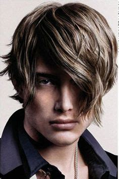 boys swept across fringe hairstyles straight rockstar hair with highlights and bangs men s