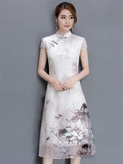 Cheongsam Dress White white qipao cheongsam dress in lotus printing cozyladywear