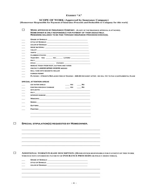 Contra Agreement Template roofing agreement free download