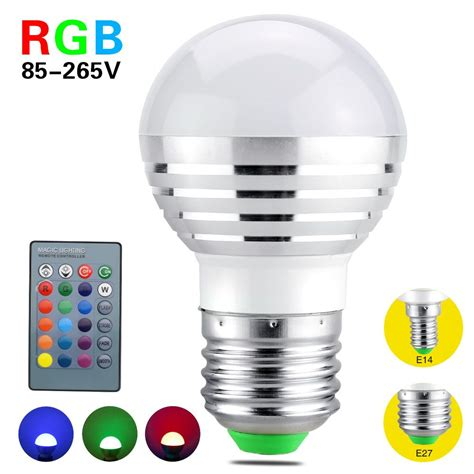 Rgb Led Light Bulbs Aliexpress Buy 2017 Rgb Led Bulb E27 E14 3w Led Light Led Spotlight Spot Lights 16 Color
