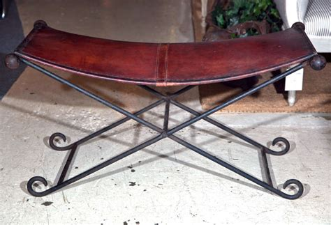 iron bench seat caign x form iron bench with leather seat at 1stdibs