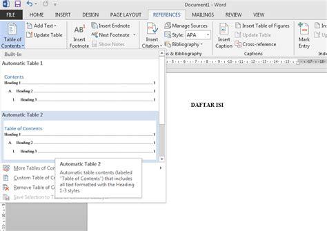 membuat daftar isi menggunakan table of contents membuat daftar isi otomatis menggunakan microsoft office