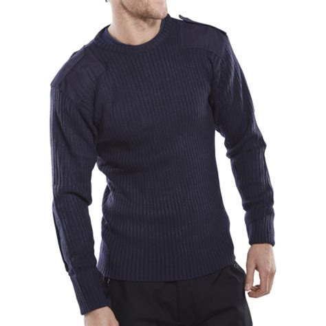 Sweater Blue Army style crew necked sweater navy blue glovesnstuff