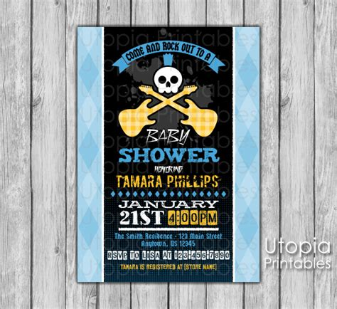 Rock And Roll Baby Shower by Rock N Roll Baby Shower Invitation Utopia Printables