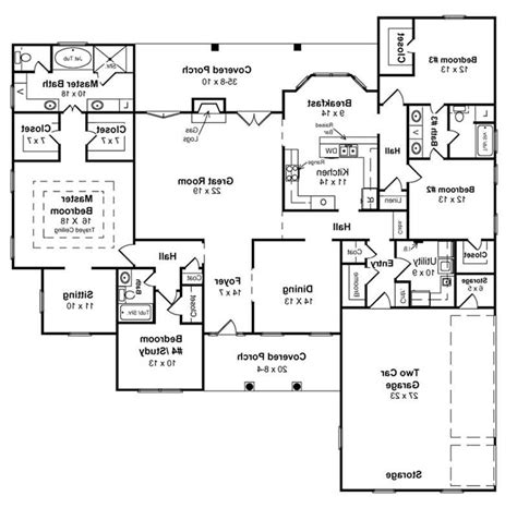 ranch style floor plans with walkout basement one story floor plans with basements lake house plans