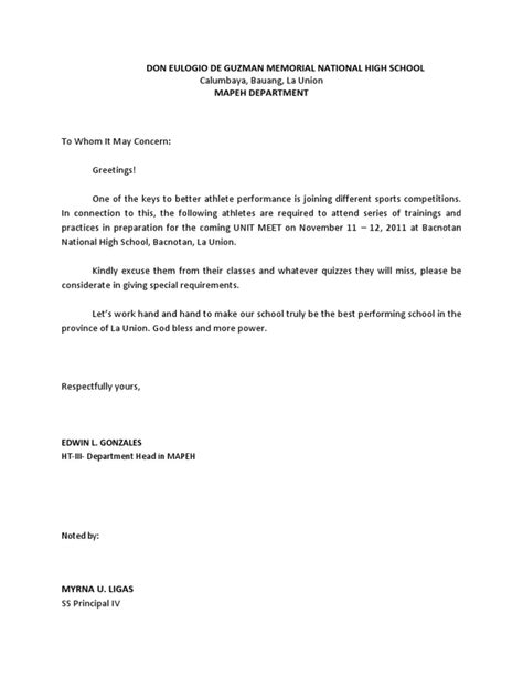 Excuse Letter For Not Joining Company Outing Excuse Letter Intrams Docx