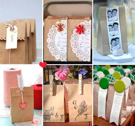 Brown Paper Bag Crafts - how to dress up brown paper bags for a wedding