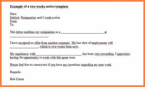 9 exles of two weeks notice notice letter