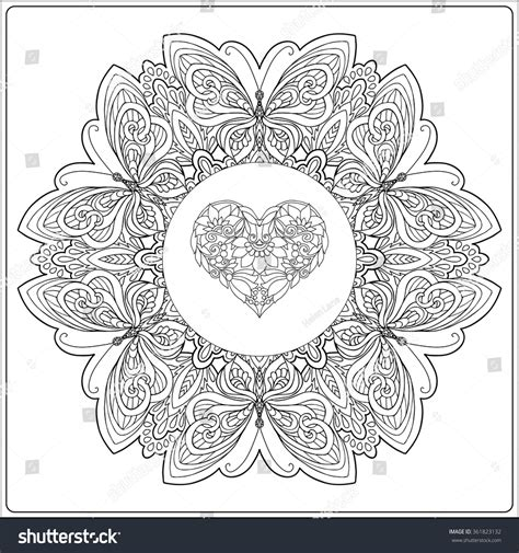 Decorative Butterflies With by Floral Mandala Butterflies Decorative Stock