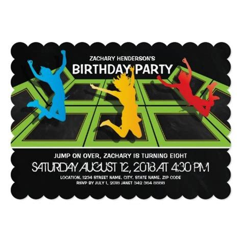 Troline Park Kids Birthday Party Card Trolines Birthdays And Troline Party Free Bounce Invitation Template