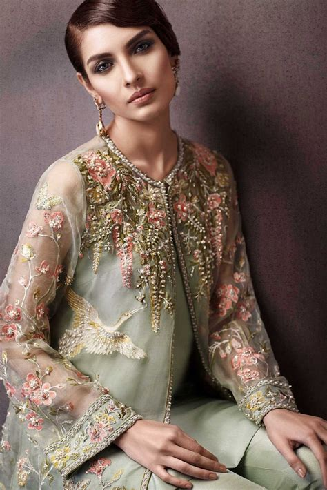 pakistani party wear embroidered shirts   latest