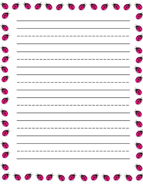 printable ladybug stationery ladybugs free printable stationery for kids primary lined