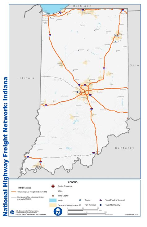 maps indiana national highway freight network map and tables for