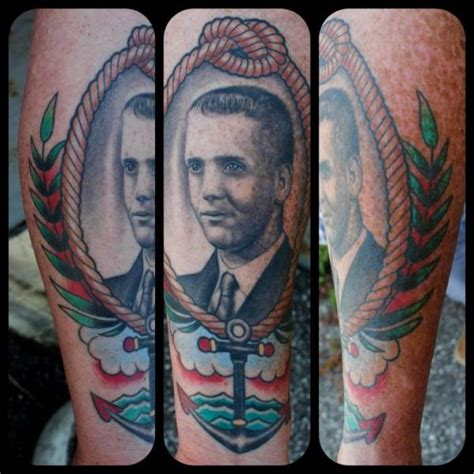 little vinnies tattoos arm portrait medallion by vinnies tattos