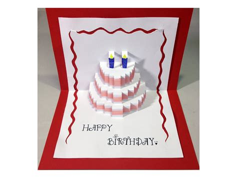 Pop Up Birthday Card Templates Free Happy Birthday Cake Pop Up Card Tutorial Youtube