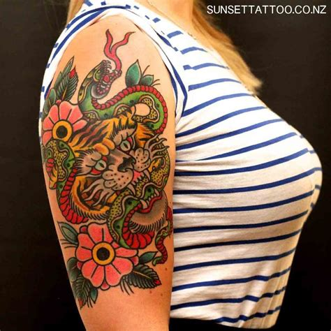 tattoo prices nz auckland tom traditional arm tattoo tiger flowers tattoo colour