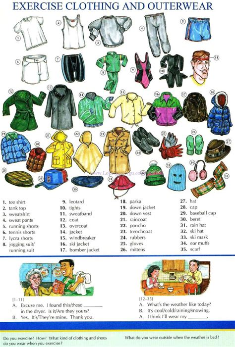 exercises with keys free english materials for you 55 exercise clothing and outerwear pictures dictionary
