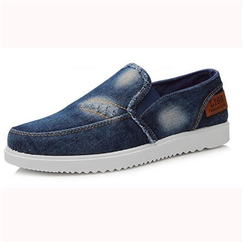 vintage canvas loafers denim jean shoes breathable