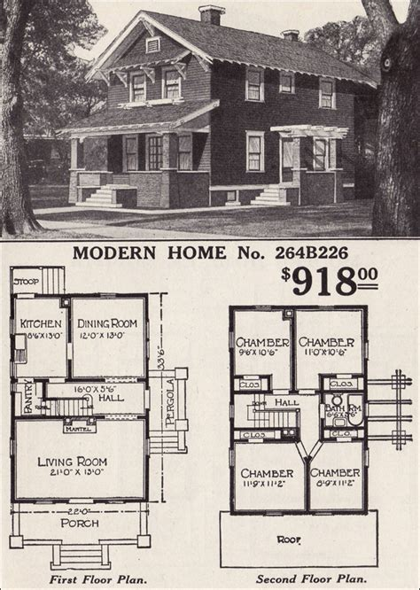 sears floor plans front gable two story bungaloid style 1916 sears modern home 264b226 roanoke