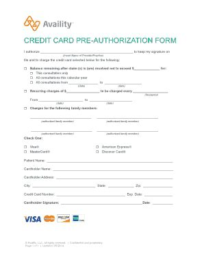 Credit Card Pre Authorization Form Template Fillable Patient Payments Credit Card Pre Authorization Form Availity Fax Email Print