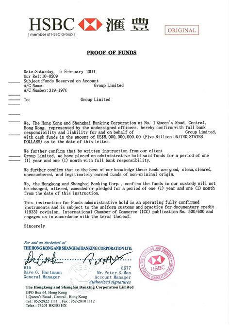 Hsbc Bank Letter Of Guarantee best photos of proof of funds statement proof of funds