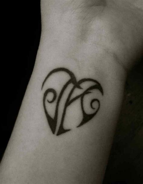 heart tattoos for guys small with initials small simple