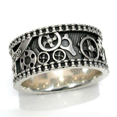 mens bike chain gear ring steunk sterling silver