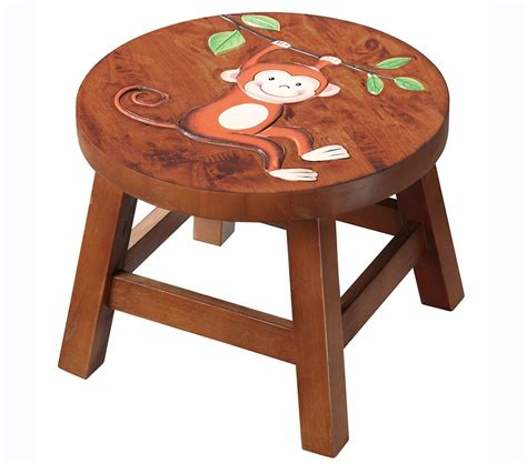 childrens wooden stools with name dreamfurniture teamson monkey wooden stool safari