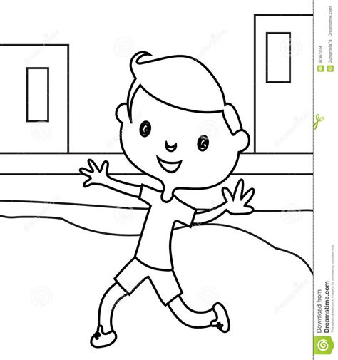 coloring page of boy running vector of a cartoon boy running track coloring page of a