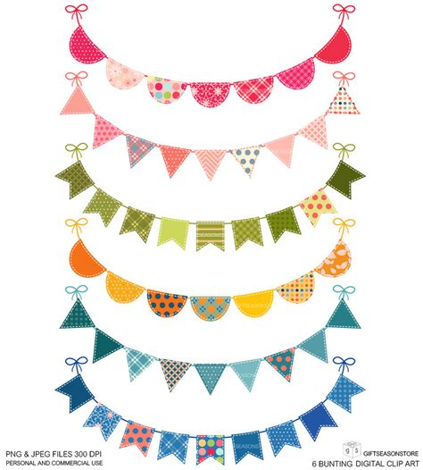 Banner Flag Natal Bunting Flag Merry Murah 6 bunting digital clip for personal and commercial use