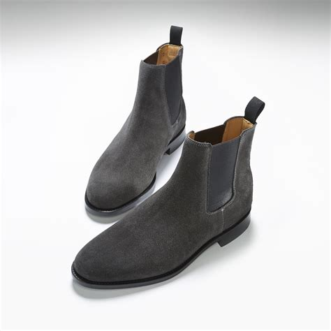 black suede chelsea boots welted leather sole hugs co