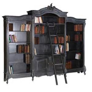 black library bookcase shabby chic moulin noir black library bookcase designer