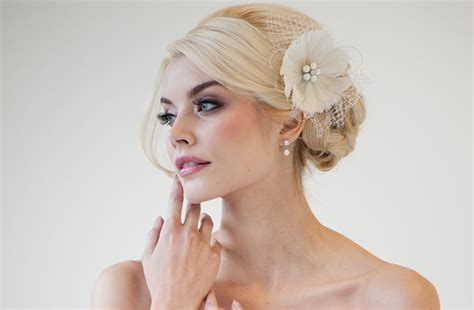 Wedding Hair With Fascinator by Ivory Feather Flower Fascinator Wedding Hair Accessory