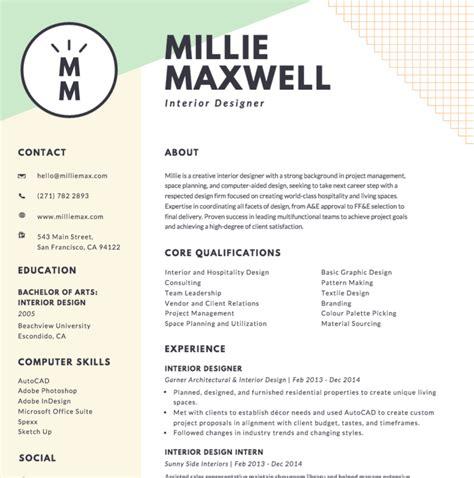 Sle Resume For Creative Designer Curriculum Vitae Graphic Design Sle 28 Images Design Resume Template Free Prot Pinteres