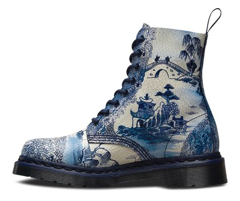 blue pattern dr martens pascal in blue and white willow pattern docs and chucks