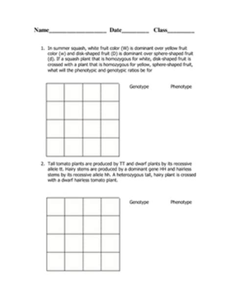 Dihybrid Cross Worksheet With Answers by Dihybrid Cross Worksheet By Goby S Lessons Teachers Pay