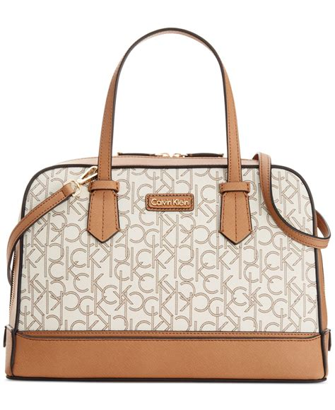 calvin klein brown monogram satchel lyst