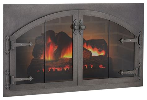 Glass Fireplace Conversion by Custom Blacksmith Arch Conversion Masonry Fireplace Glass