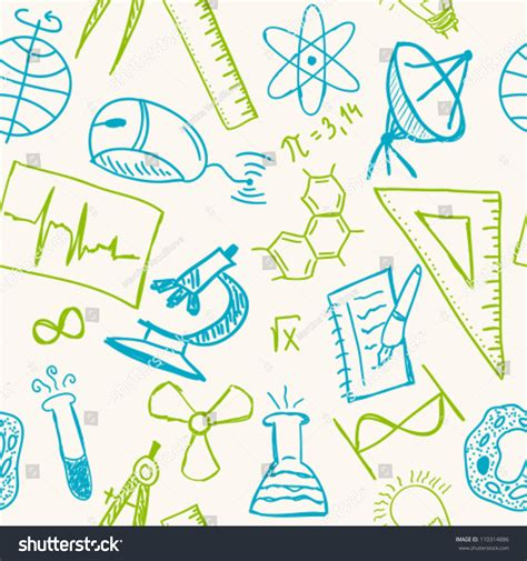 pattern of library and information science science drawings on seamless pattern scientific stock