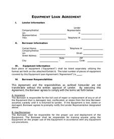 equipment lease contract template loan agreement template 9 free word pdf document