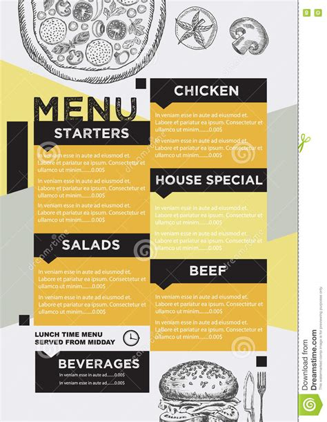 Menu Cafe Restaurant Template Placemat Food Board Design Stock Vector Image 75124772 Placemat Menu Templates