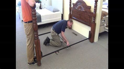 how to connect headboard to bedframe assembly of drcv1l low profile full to queen steel bed