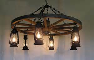 Wheel Chandelier Light Dxww026 Wagon Wheel Chandelier W Fashioned Lanterns