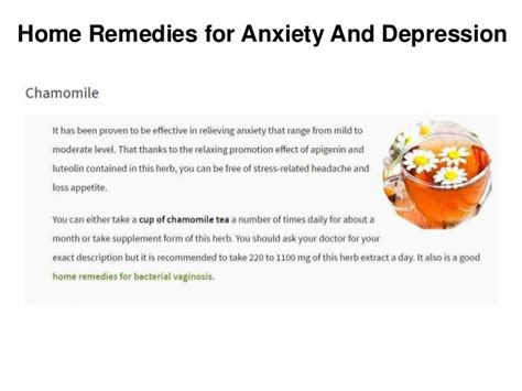 home remedies for anxiety and depression