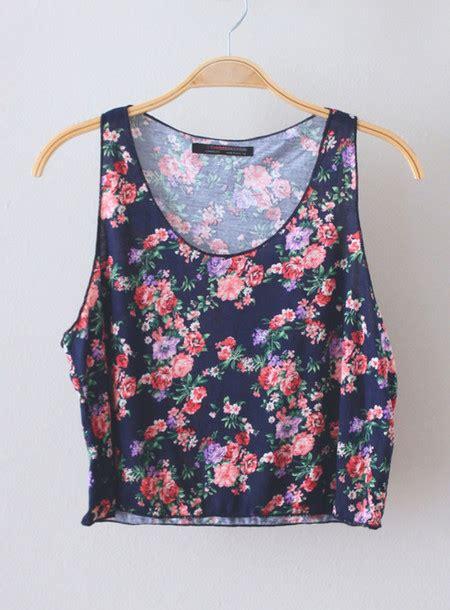 Top Crop Flower shirt floral crop tops tank navy flowers pretty