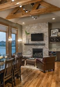 Rustic modern lake house transitional living room omaha by