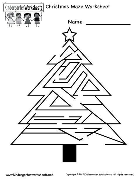 printable christmas tree maze printable christmas worksheets for kindergarten
