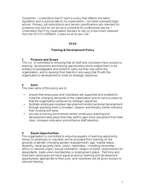 training policy template 2 free templates in pdf word