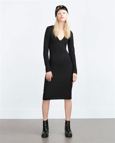 Dress Zara V zara fitted dress in black lyst