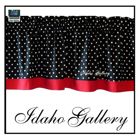 polka dot black white kitchen curtain or by idahogallery